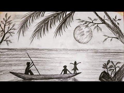 Kolay Ağaçlık Göl Manzara Resmi Nasıl Çizilir / how to draw lake landscape picture at night