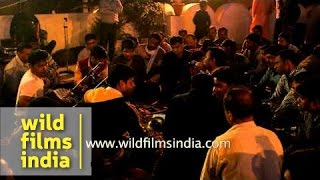 Indian Hindu devotees chant devotional songs on Maha Shivratri