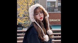 큐트 겨울 니트 방울 귀달이 모자