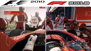 F1 Game Comparison (2010 - 2018 PIT Stop Gameplay Comparison)