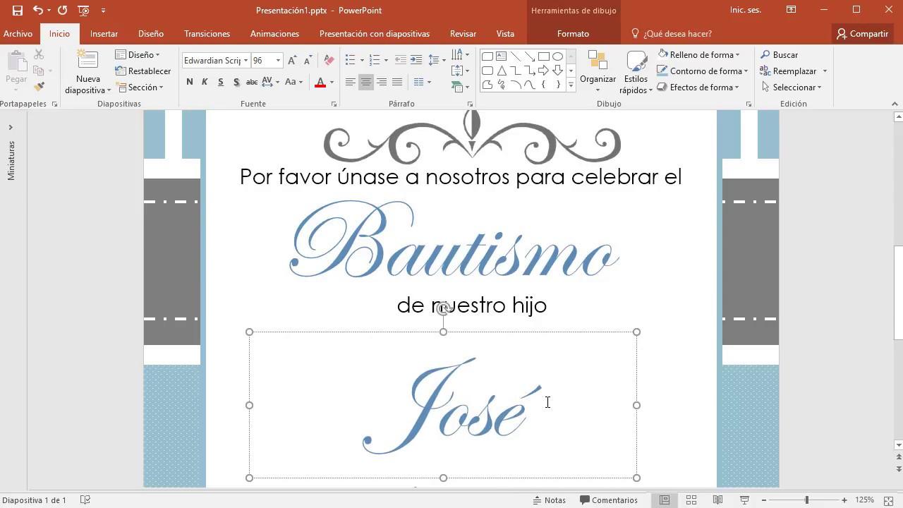 Cómo Hacer Una Invitación Para Bautizo En Powerpoint