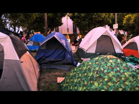 Growing Tent City at City Hall during the evening: Occupy Los Angeles Day 6