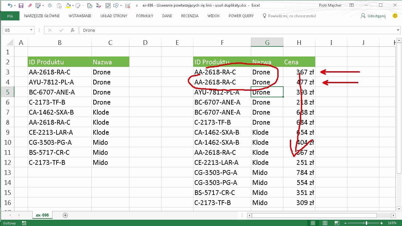 Excel 696 Usuwanie Powtarzających Się Linii Usuń Duplikaty Youtube