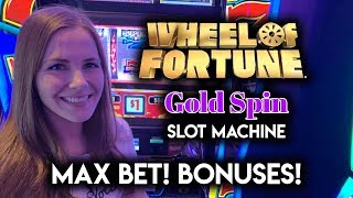 $10 Max Bet Spins on Wheel of Fortune Gold Spin Slot Machine!! BONUSES!!