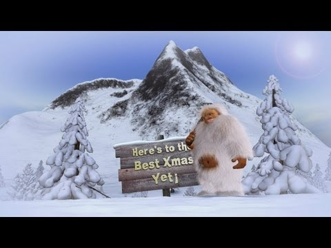 DIGITALmotion Animated Christmas Card Dancing Yeti