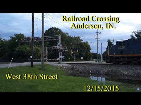 Railroad Crossing: West 38th Street in Anderson, IN, [CSX] Main Tracks 1&2