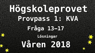 Högskoleprovet 2018 Våren Lösningar Pass 1 KVA del 1 Kvantitativa Matte