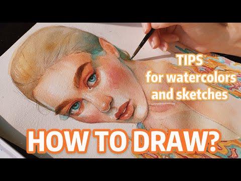 Рисуем портрет акварелью видеоурок