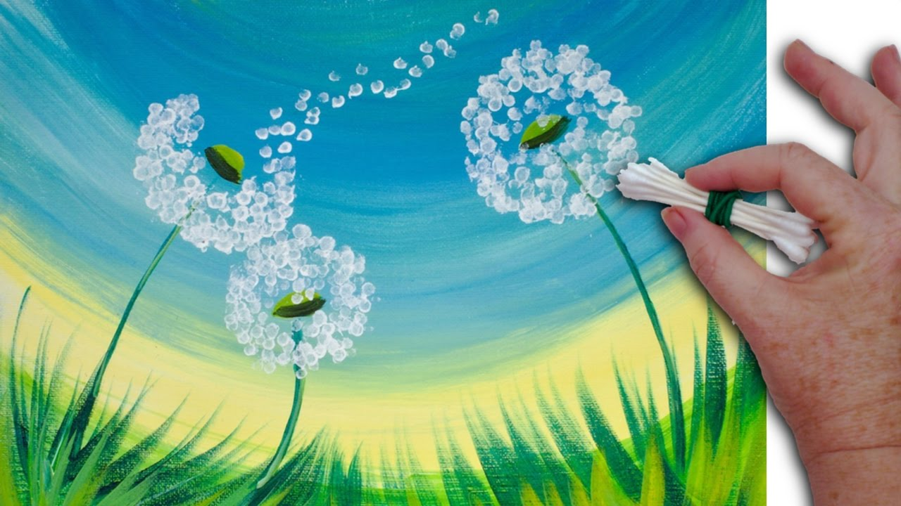 good Easy Acrylic Painting Ideas Flowers Part - 4: Dandelion Cotton Swabs Painting Technique for BEGINNERS EASY Acrylic  Painting