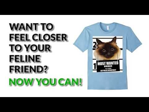 Most Wanted Birman Cat T shirt - Men's, Women's, Kid's - Black, Baby Blue, Slate
