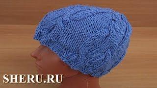 Вязание шапочки Урок 31 часть 2 из 3 Вязание спицами