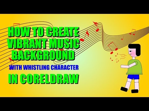 How to create vibrant music background pattern with whistling character in CorelDraw.