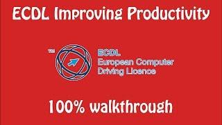ECDL improving productivity DIAG 2016-17 100% walkthrough