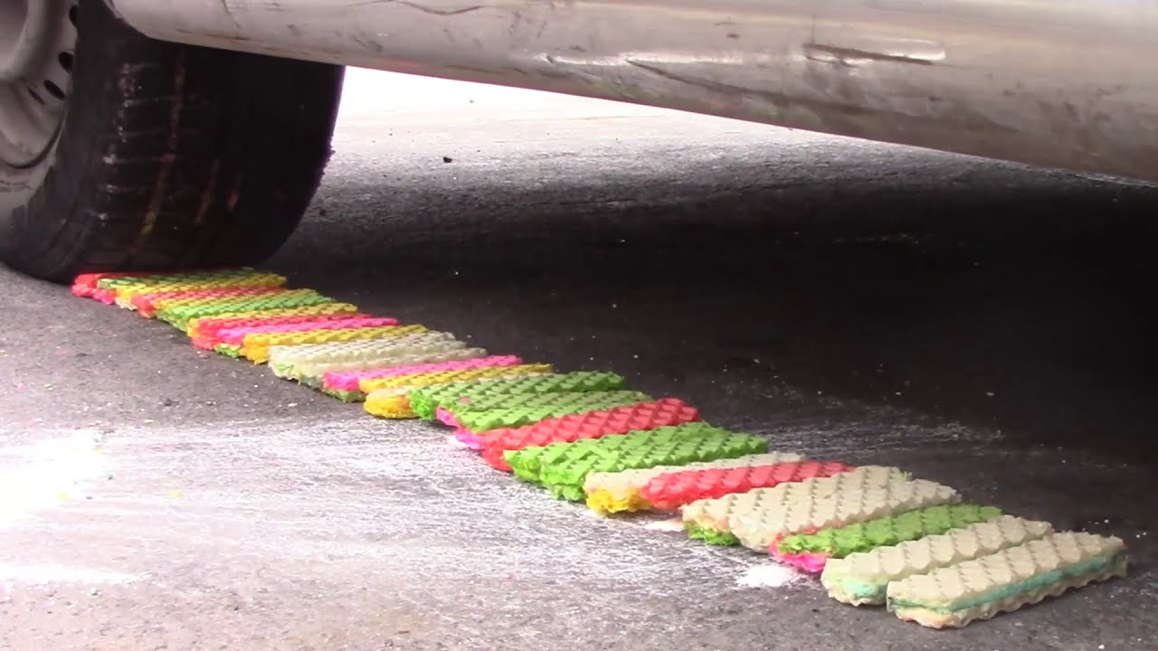 Crushing Crunchy & Soft Thing by car! Experimente Car vs Cookies