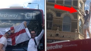 ENGLAND FANS CLIMB ON TOP OF LONDON BUS AFTER ENGLAND VS SWEDEN
