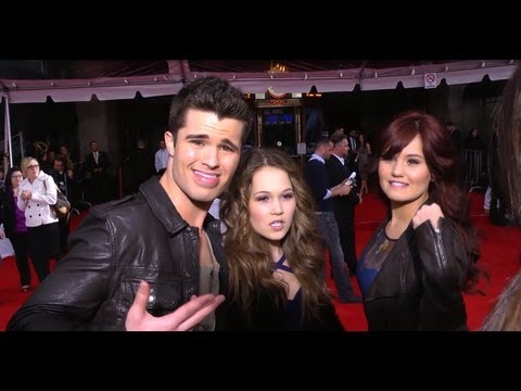 Debby Ryan, Spencer Boldman & Kelli Berglund - Superhero Poses at 'The Avengers' Premiere