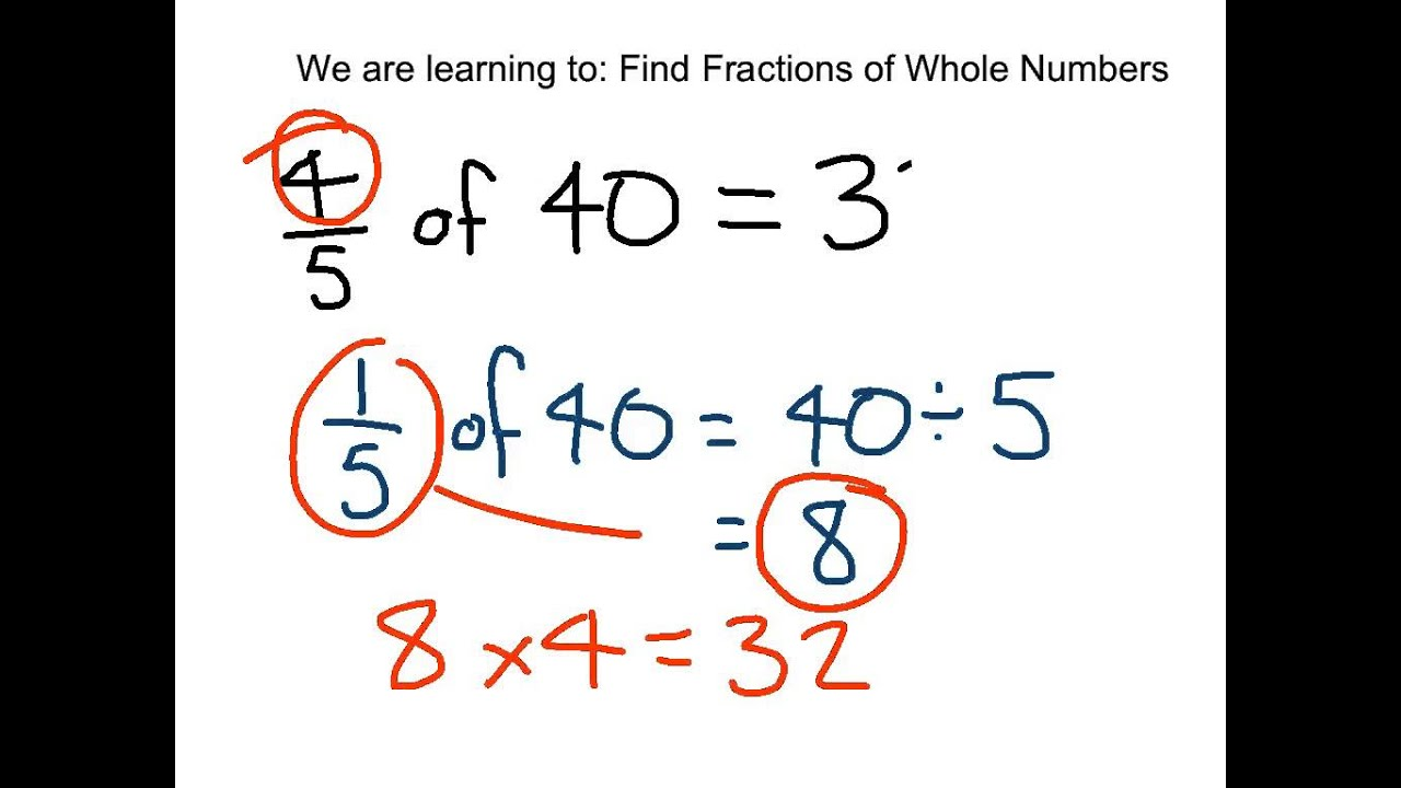 worksheet Fractions Of Numbers Worksheets Ks2 finding fractions of whole numbers youtube numbers