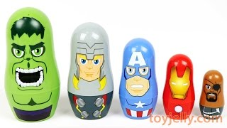 Learn Size with Marvel Avengers Nesting Surprise Toys Learn Colors, Numbers With Nesting Gummy Bear
