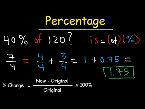 Percentage Word Problems, Percent Change Formula - Increase and Decrease - Decimal to Fraction