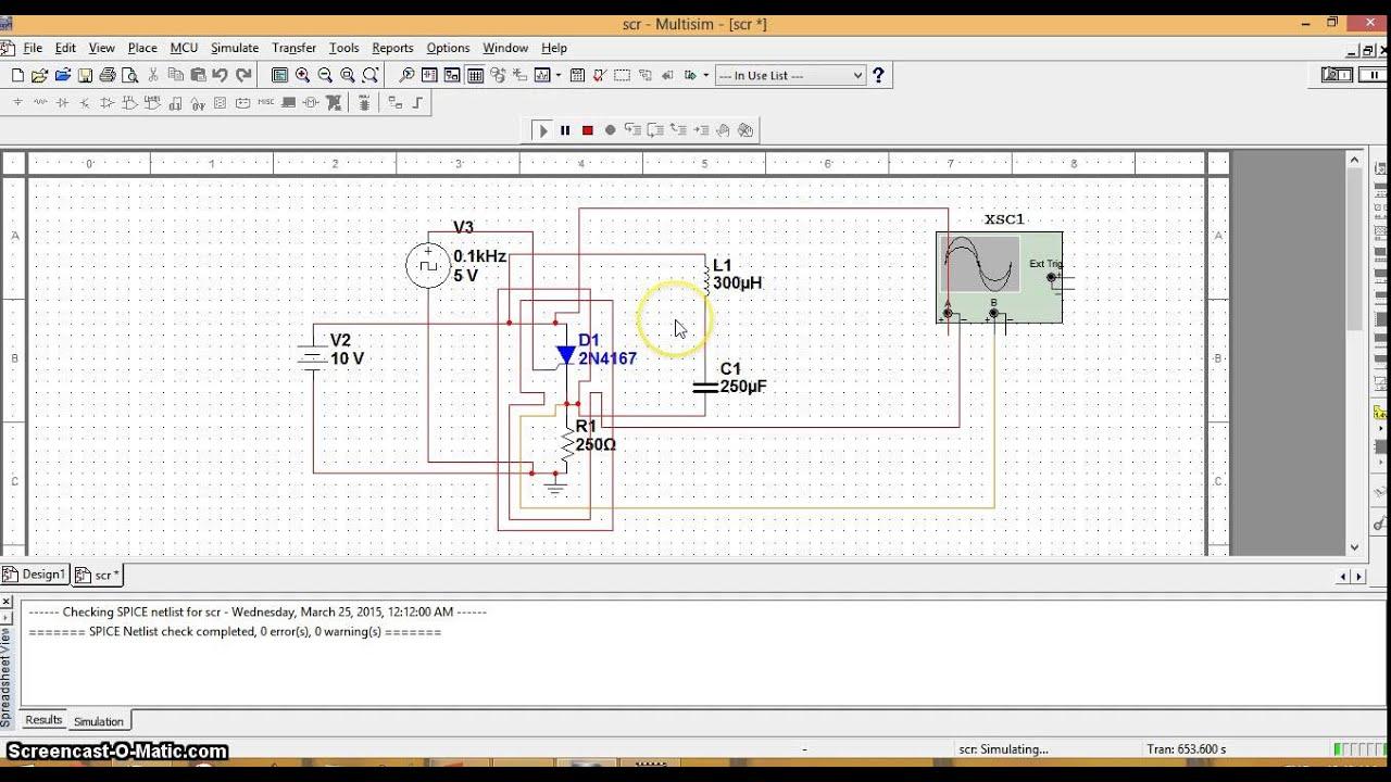 Simulation Of Lc Commutation Circuit An Scr Using Ni Multisim Scrturnoff Characteristics Electronic Circuits And Diagram