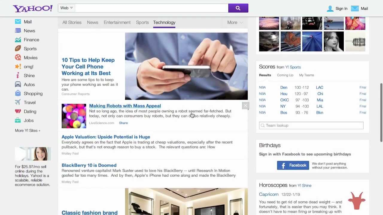 Yahoo Testing A New Home Page Design