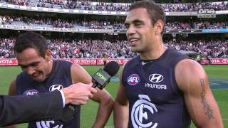 Carlton df. Geelong April 2010, after match celebration & interviews