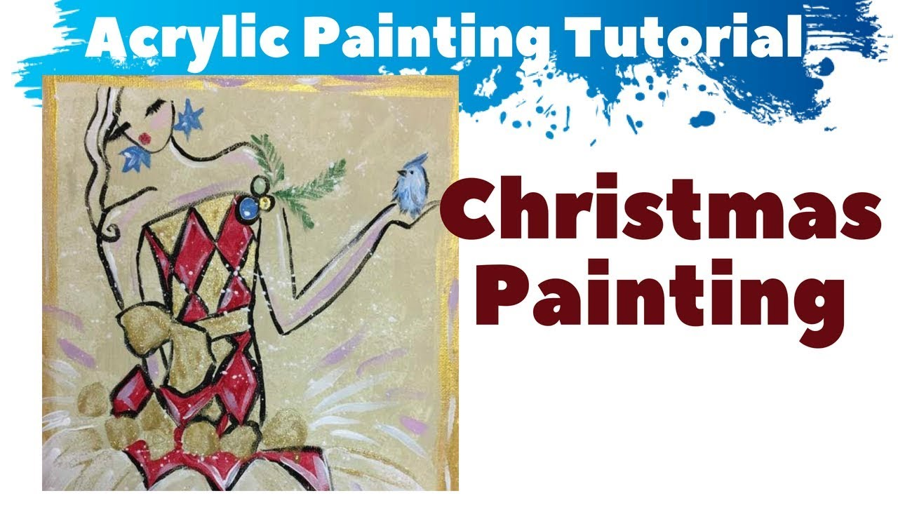 Simple Christmas Painting Ideas Diy Canvas Art Tutorial Youtube