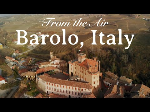 Barolo, Piedmont (Italy), King Of Wine Producers From The Air Winery/Vineyard Winter Sunset 4K Drone