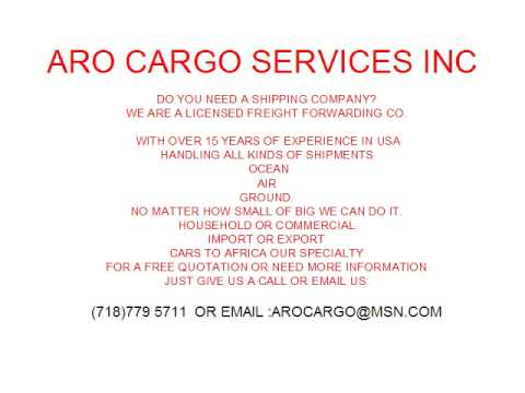 ARO CARGO SERVICES INC  SHIPPING FREIGHT FORWARDERS