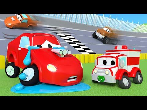 Amber a ambulância - Jerry o carro de corrida e as rochas - Cidade da Carro 🚓 🚒 Desenhos Animados