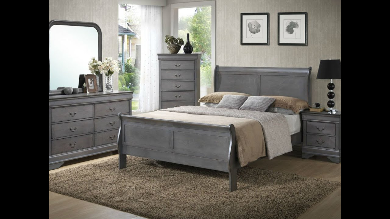 Gray louis phillippe bedroom from seaboard bedding and furniture youtube for Grey wood bedroom furniture set