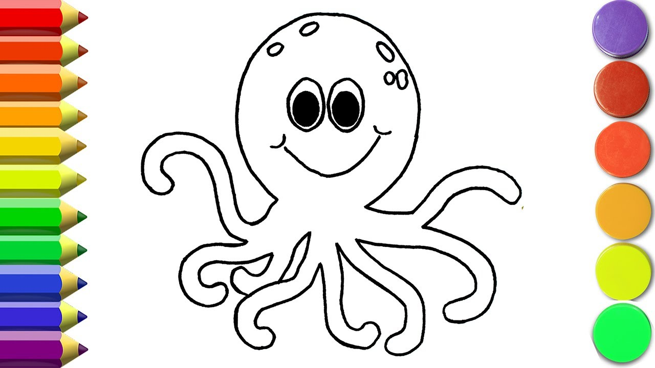 How to draw Octopus Coloring Pages Animals | Learn Drawing ...