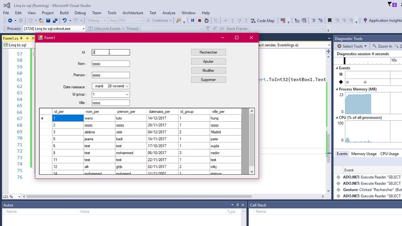 C# Linq To Sql ( Select - Insert - Update - Delete)(إضافة-تعديل-حدف-بحث)