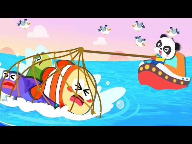 Baby Panda Learn &  Explore The Sea   Happy Fishing - Learn about Sea Animals   Babybus Kids Games