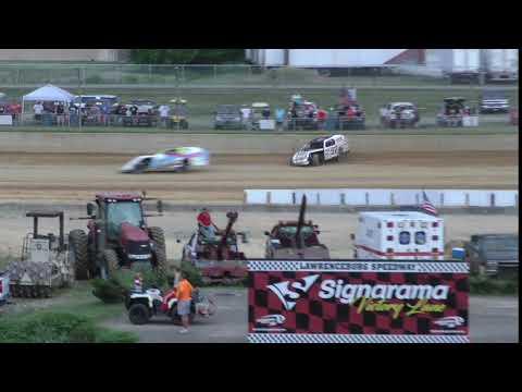 7 6 19 #97 Shawn Brown Crash Lawrenceburg Speedway