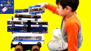 Johny Builds A Lego Sluban City Bus Toy & Plays With Articulated MTA NYC Bus Toys