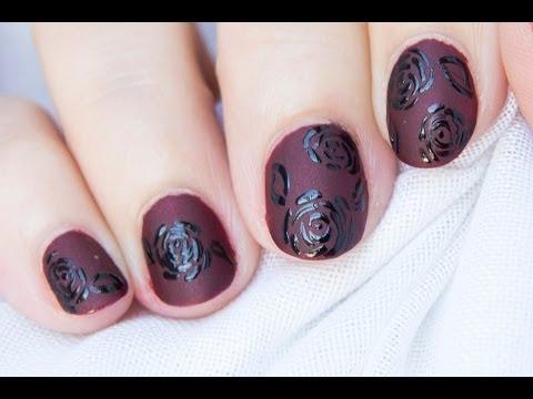 Diseño de uñas gótico mate (rosas negras) / Nail art ...