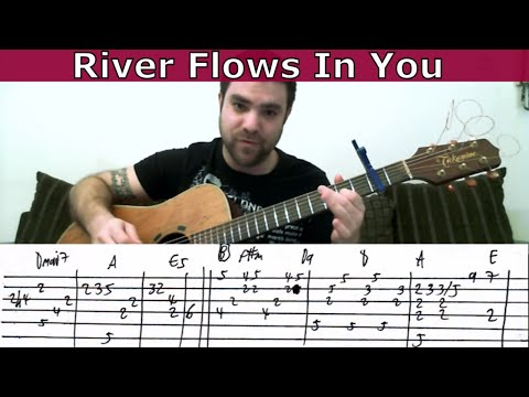 Tutorial: River Flows in You - Fingerstyle Guitar w/ TAB - YouTube