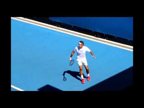 Roger Federer Groundstroke, Volley, Serve, Return.  Practice Australian Open 2014