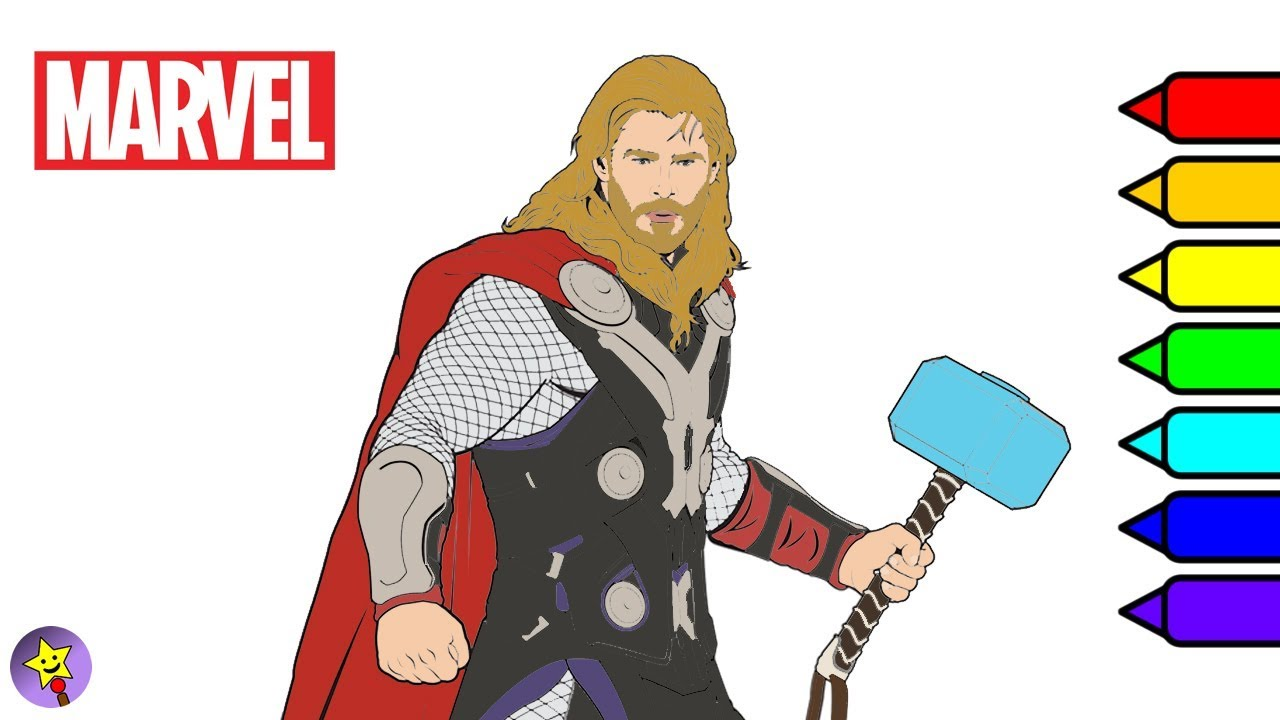 Marvel Avengers Coloring Book Thor Coloring Page Marvel Superhero ...