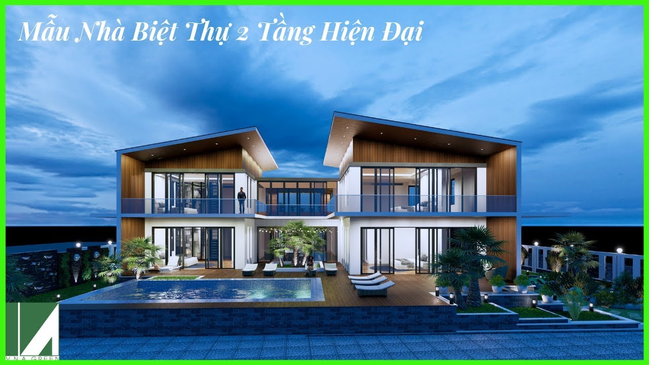 Mẫu Thiết Kế Nhà Biệt Thự 2 Tầng Hiện Đại Đẹp – Không Gian Mở   Kiến Trúc Việt Xanh