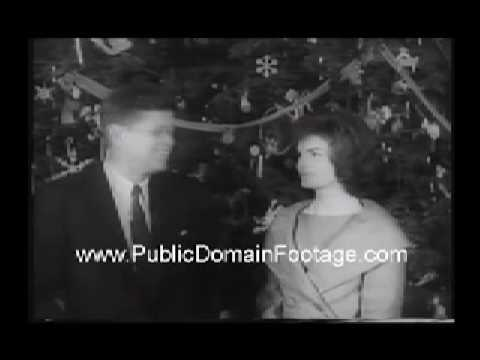 Retro American Christmas 1961 JFK and Jackie Onassis Kennedy- www.PublicDomainFootage.com