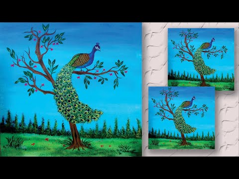 Step by Step Peacock Painting using easy Techniques for Beginners | Zeeshan Art