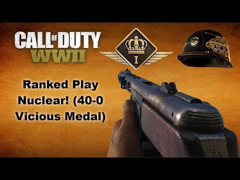 Call of Duty: WWII Ranked Play 40-0 Vicious(Nuclear) Medal