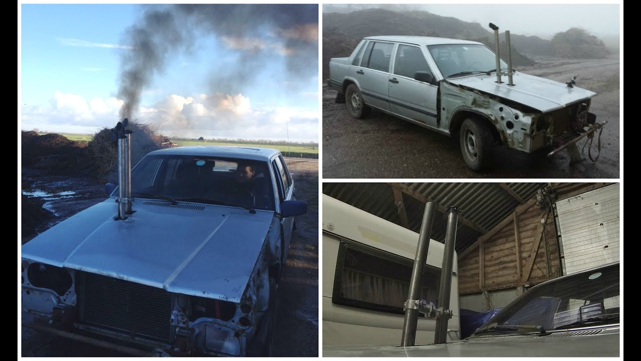 Volvo 740 Diesel with custom exhaust system - YouTube