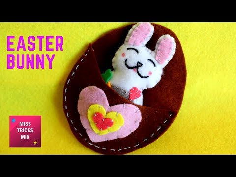 DIY : How To Make A Pretty Felt Easter Bunny / Easter Crafts - Kids Crafts