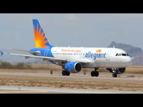 Allegiant A319 Taxi and Takeoff 12R KIWA Williams Gateway Airport