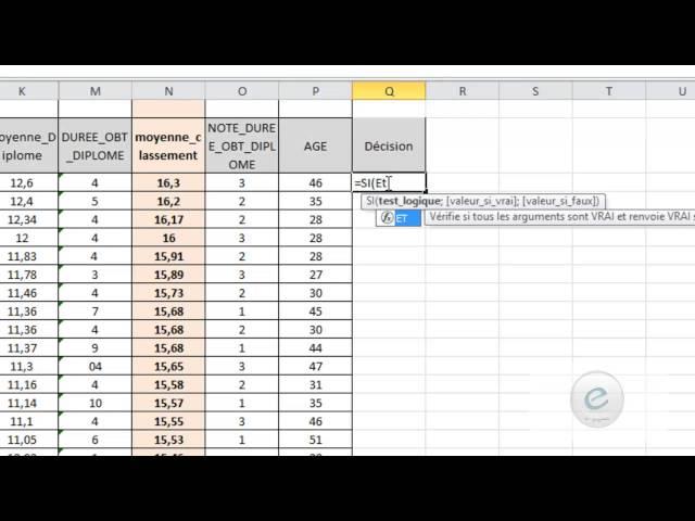 24 MS Excel : Fonctions Logiques ET, OU, NON, VRAI, FAUX,  SIERREUR SI