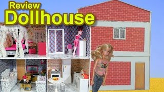 Dollhouse for Barbie, Monster High, Frozen, EAH, etc made with cardboard Review / Tour