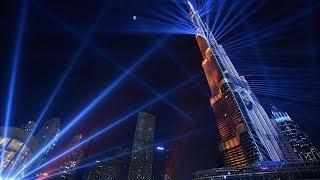 Лазерное шоу. Бурдж Халифа в центре Дубая. Фонтан Дубай Молл